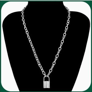 Unisex Silver Lock Charm w/ Link Necklace